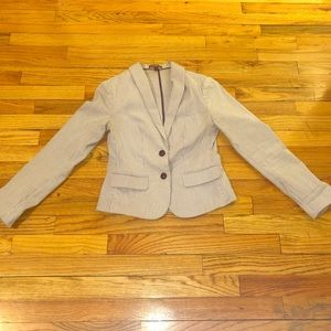 Navy Blue and White Pinstripe Blazer